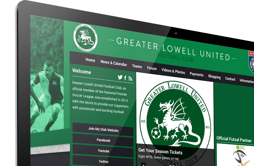 Greater Lowell United FC's Pitchero homepage