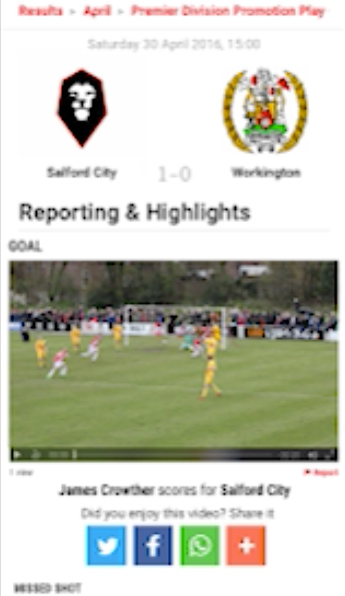 A portrait iPhone screen showing the EvoStik league homepage, currently playing a Pitchero Play video