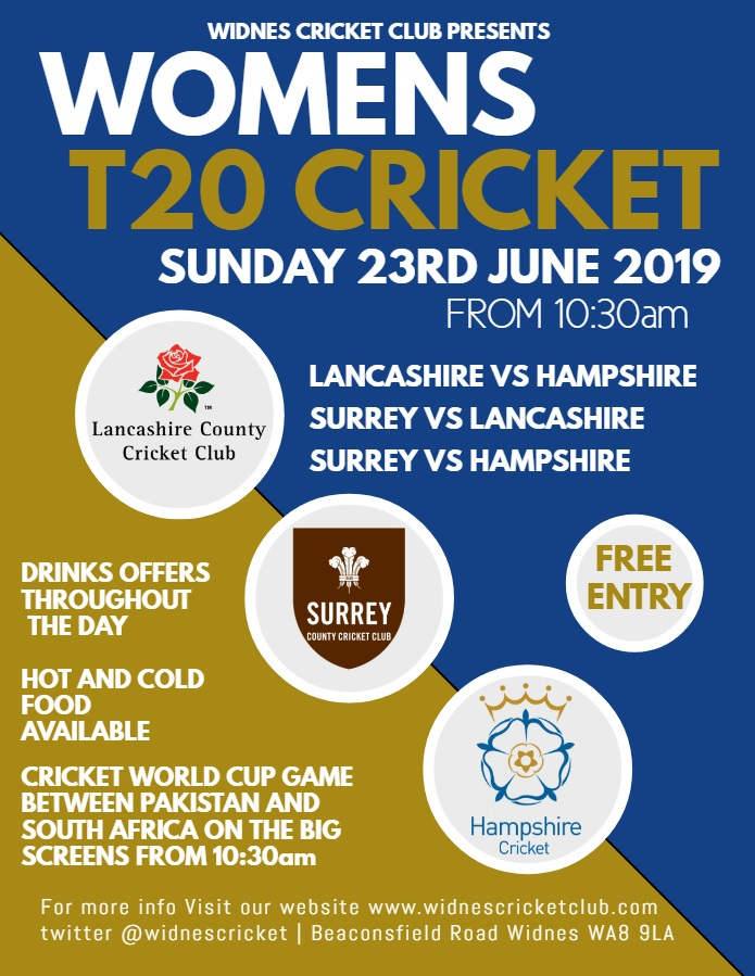 Womens County T20 Cricket Live on Sunday - Widnes Cricket Club
