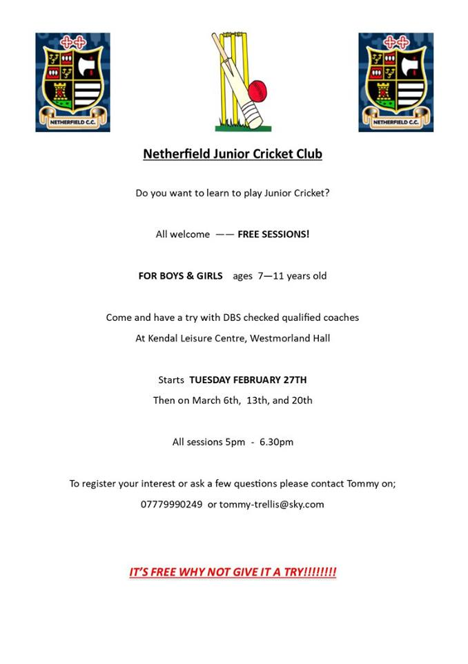 Ncc Junior Training Sessions Kendal Leisure Centre Netherfield