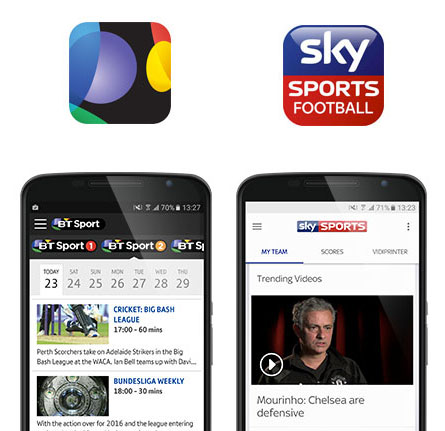 BT Sport and Sky Sport Football Centre app screenshots