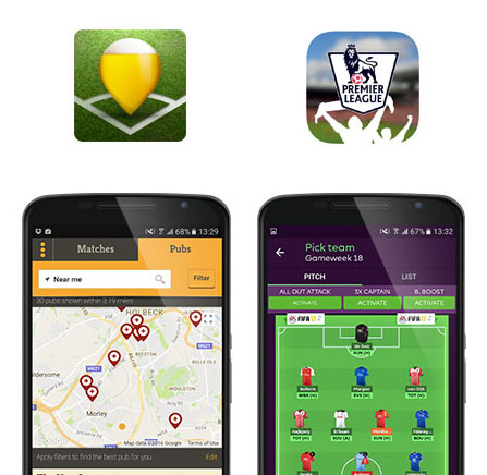 Corner and Premier League app screenshots