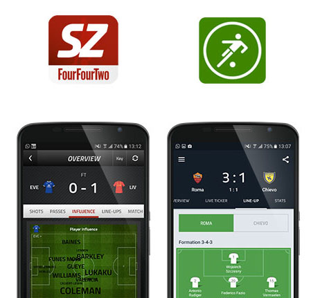 Stats Zone and One Football app screenshots